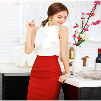 LMFET7 6 Colors OL Women Retro Slim Fitted Knee Length Fitted Business Bodycon Career High Waist Straight Pencil Skirts Drop Shipping