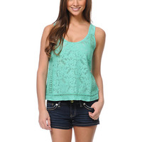 Element Shannon Mint Crochet Tank Top