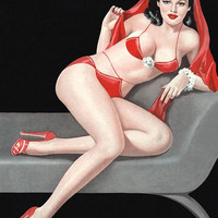 Pin Up Art Harem Beauty In Red Bikini Poster