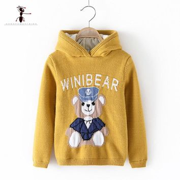 Kung Fu Ant Hooded O-Collar Two choices Embroidery Pattern Winter Knitted Boys Sweaters for Hot Students Baby Clothes 3220