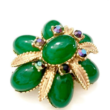 Sphinx Emerald Green Brooch, Emerald Green Oval Cabochons, Aurora Borealis Accents, Gold Tone, High Domed Flower, Signed Vintage Jewelry,