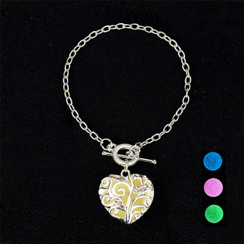 Luminous Night Glow In The Dark Bracelet. Silver Love Heart Jewelry.