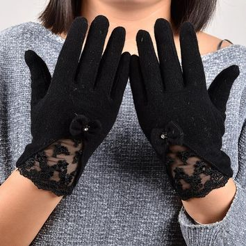 [BYSIFA] Sexy Black Lace Embroidered Wool Gloves Women Winter Thick Cashmere Soft Mittens Gloves Elegant Bow-knot Ladies Gloves