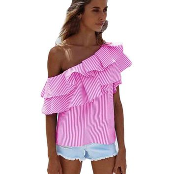 Sexy Women Striped Ruffle Off Shoulder Tops Summer Blouses For Women Ladies Sleeveless blouses blusas feminina vero 2017 #15