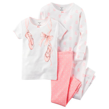 Carter's® 4-pc. Cotton Pajama Set - Baby Girls newborn-24m - JCPenney