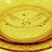 Vintage L.E. Smith Heritage Amber Glass American Eagle Cigar Ashtray - Tobacciana- Cigar Smoker Gift For Him