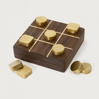 Chris Earl Tic-Tac-Toe Set in Wood/Brass
