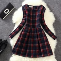 Large Size Wool Plaid Print Dress