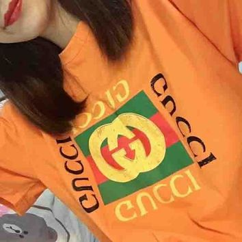 Gucci Classic Orange Cotton Classic Logo Men And Women With Short Sleeves Shirt Top Tee