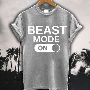 Beast Mode On Letters Women t shirt Cotton Casual Funny tshirts For Lady Top Tee Rock Black White Gray H-140