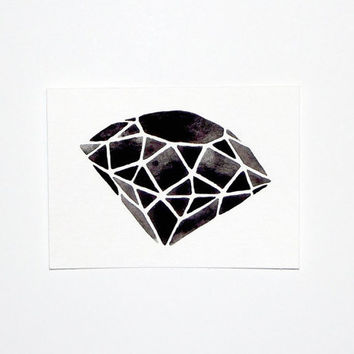 Original Watercolor  Geometric Diamond III  5 x 7 by GeometricInk