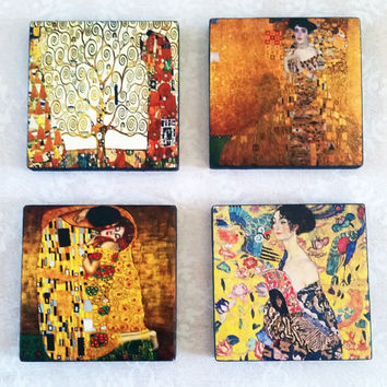 Gustav Klimt Art Ceramic Tile Magnets 2x2 Inches Set of Four for Refrigerator, Fridge, Cubicle Decor, Dorm Decor, Magnet Board