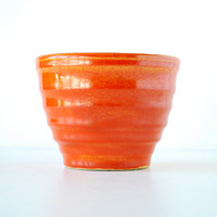 Vintage Bauer Pottery Custard Cup in Orange | Vintage Ceramic Ringware 1930's