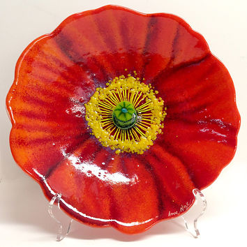 Red Poppy Bowl by Anne Nye: Art Glass Bowl | Artful Home