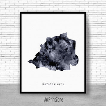 Vatican City Print, Watercolor Map, Vatican City Map Art, Map Artwork, Country Art, Office Decorations, Country Map Art Print Zone