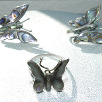 Vintage TAXCO Stamped Signed Mexico Sterling Silver Butterfly Abalone Ring and Earrings Vintage Jewelry Jewellery Set