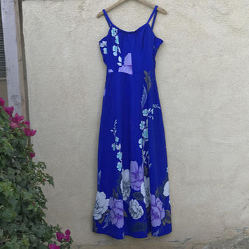 Vtg 60s Beautiful Malihini Hawaii Designer Creations Dress / Royal Blue Floral Hibiscus Hawaiian Maxi Dress / Long Sleeveless Tropical Beach