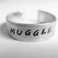 Harry Potter Ring Muggle Hand Stamped Aluminum by dweebishdelights