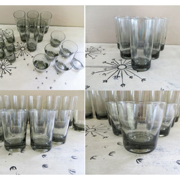 Morgantown Smoke Glassware Set Madmen Drinking Glasses Vintage Barware Retro Barware Smoke Barware Retro Glasses Smoke Glassware