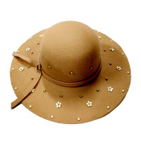 Camel Beaded Floral Knot Band Fedora Hat