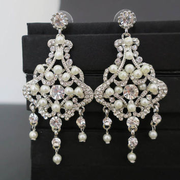 Chandelier Wedding Earrings Bridal Earrings Statement Bridal Earrings Art Deco Wedding Jewelry Pearl Crystal Earrings Great Gatsby Vintage