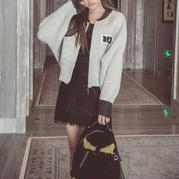 Fashion Knit Long-Sleeve Baseball Uniform Cardigan Coat Sweater