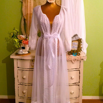 White Chiffon Nightie Set, Romantic Gift, Nightgown & Robe, ML-L, Vintage Lingerie, Hollywood Glam Boudoir, Long Elegant Nightdress Peignoir