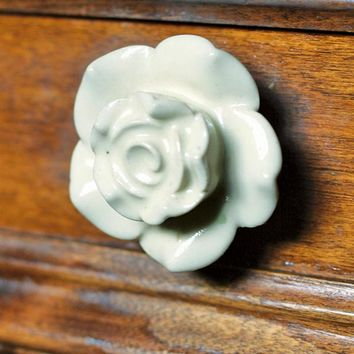 MOONLIT ROSE DRAWER PULL - White Rose Knob