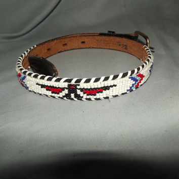 Woven Seed Bead Thunderbird Leather Belt, 22""