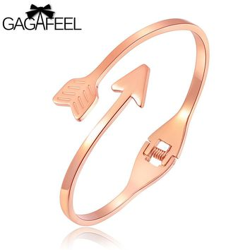 GAGAFEEL Engrave Cuff Bracelets Bangles Laser Letter Diy Bow And Arrow Bracelet Stainless Steel Bangle Jewelry for Girls