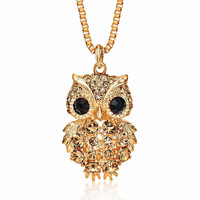3 Colors Vintage Owl Necklace Popcorn Chain Rhinestone Crystal Long Pendant Necklaces Handmade Fashion Charm Jewelry For Women