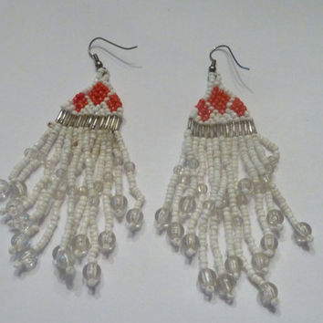 Vintage White  Red Tassel Earrings Glass Sea Beads Indian Native American Costume Jewelry Tribal