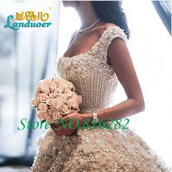 Cathedral/Royal Luxury Beaded Pearls Wedding Dress