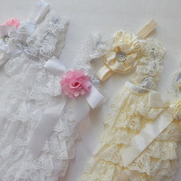Baby Girl's Petti Lace Romper. Matching Headband, Choose White or Ivory, 6-12month, baby's first birthday, photo prop, romper set, Easter