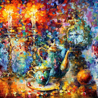 "Tea Time — ORIGINAL Oil Painting On Canvas By Leonid Afremov - Size: 40"" x 30"""