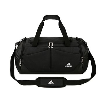 ADIDAS fashion men's and women's casual patchwork color large capacity duffel bag Black
