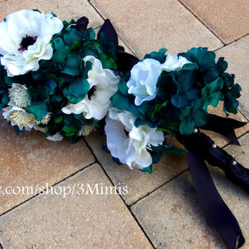 Anemone Wedding Bouquet Bridal Accessory Teal Hydrangea and White Anemone