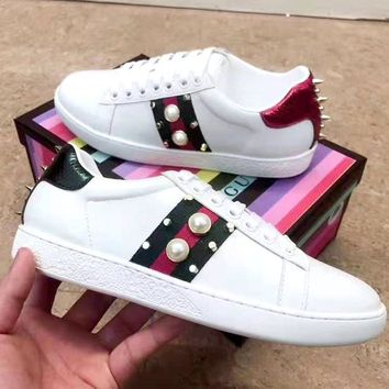 Free Shipping-GUCCI Women's Wild Pearl Studded White Shoes