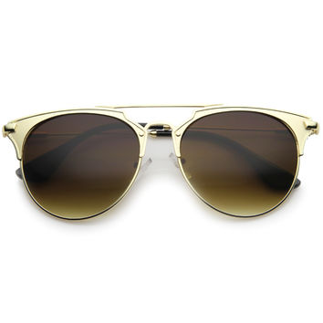 Modern Metallic Double Bridge Pantos Aviator Sunglasses A202