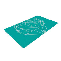 "Mareike Boehmer ""Heart Graphic Turquoise"" Teal Abstract Woven Area Rug"