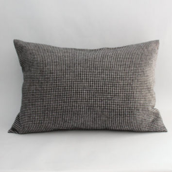Plaid Pillow Cover: Black and White Houndstooth Flannel Pillow Cover, Menswear-Inspired Throw Pillow, Neutral Bedding, Modern Plaid Lumbar