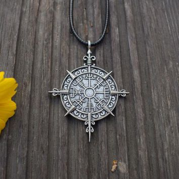 Viking Vegvisir Compass Protection Symbol  Pendant