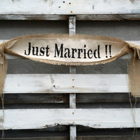 Just Married Burlap Banner, Rustic Wedding Decor, Wedding Banner, Wedding Photo Prop
