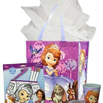 Disney Sofia the First Birthday Gift Bundle: Color Purse, Tumbler, Puzzle & Reusable Tote Bag with Tissue Paper
