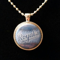 "Blue KC Royals 1"" Necklace Pendant"