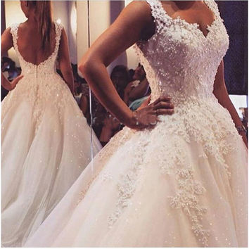 Luxury Full Beading Arabic Wedding Dresses Dubai Straps Wedding Dress