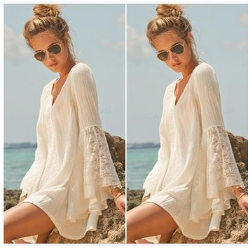 Lace Trumpet Sleeve Loose Beach Dress - White/Beige