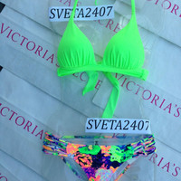 New Sexy Victoria's Secret Neon Kiwi Green Triangle Push Up Bikini Set XS Floral
