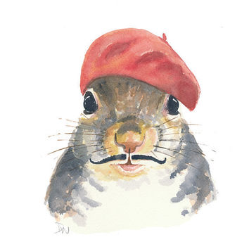 Squirrel Painting - Original Watercolour, French Beret, Mustache, Squirrel Art
