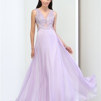 Fashion V-Neck A-Line Beaded Backless Long Prom Dress